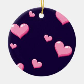 Pink Hearts Ceramic Ornament