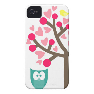 Pink Hearts Cherry Blossom Owl iPhone 4s Case
