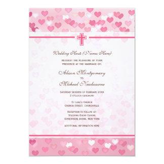 Pink Hearts Christian Church Wedding Invite