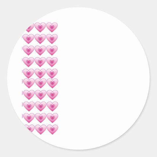 Pink Hearts Classic Round Sticker