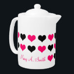 """Pink Hearts Custom Name Teapot<br><div class=""""desc"""">Pink Hearts Custom Name - designer gift template. A perfect gift for any avid cook! Fully customizable. Easy to use and easy to personalize. Order Today!  Are You On Facebook?</div>"""