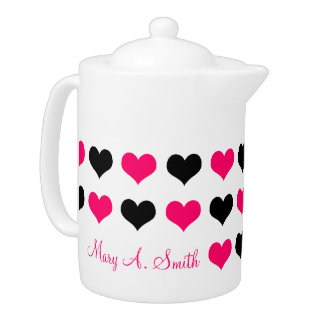 Pink Hearts Custom Name Teapot