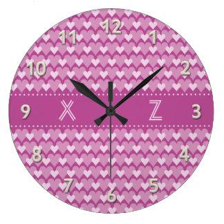 Pink Hearts custom wall clock