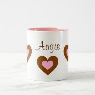 Pink Hearts Customizable Name Valentine Mug
