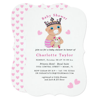 Pink Hearts | Cute Baby Princess Shower Invite
