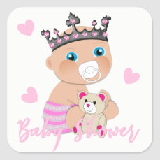 Pink Hearts Cute Baby Princess Shower Square Sticker