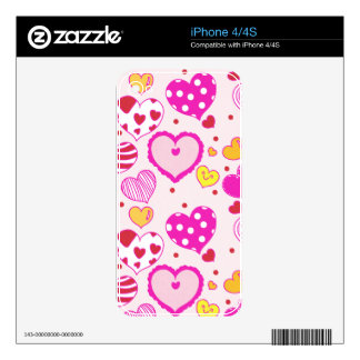 Pink hearts cute trendy girly romantic love lovely skin for the iPhone 4S