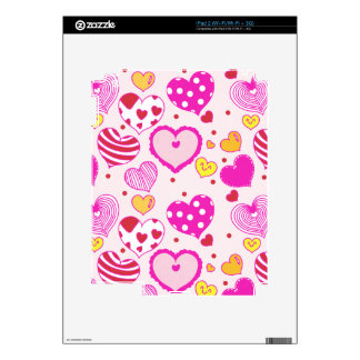 Pink hearts cute trendy girly romantic love lovely skins for iPad 2