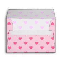 Pink Hearts Envelope A7
