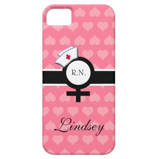 Pink Hearts+Female Sign+Nurse Cap/Name iPhone 5 Case