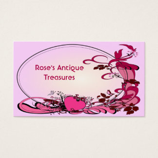 Pink Hearts & Flowers Business Card