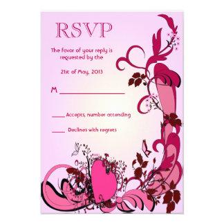 Pink Hearts Flowers Wedding RSVP Custom Announcement