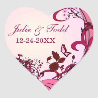 Pink Hearts & Flowers Wedding Save The Date Heart Sticker