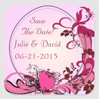 Pink Hearts & Flowers Wedding Save The Date Square Sticker