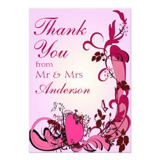 Pink Hearts Flowers Wedding Thank You Custom Invitation