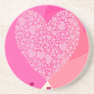 Pink Hearts for St Valentine's Drink Coaster