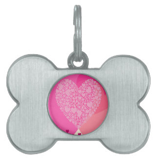 Pink Hearts for St Valentine's Pet Name Tag