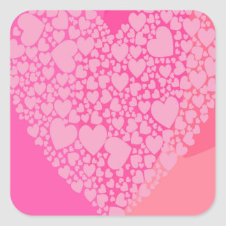 Pink Hearts for St Valentine's Square Sticker
