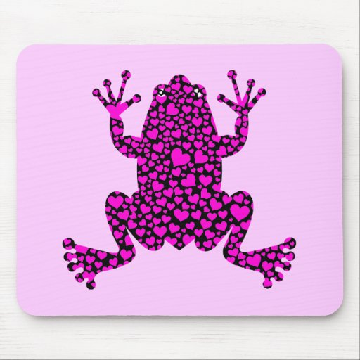 pink hearts frog mouse pad