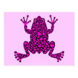 pink hearts frog postcard