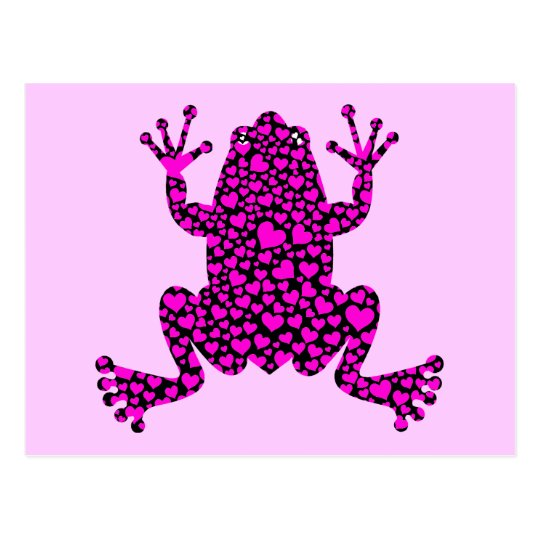 pink hearts frog postcard