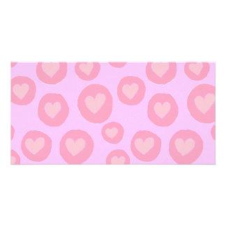 Pink hearts fun hand painted folk pop art pattern photo card