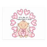 Pink Hearts Girl 1st Valentine's Day Tshirts Postcard