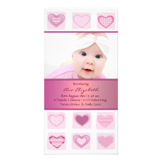 Pink Hearts Girl Photo Birth Announcement Photo Cards