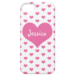 Pink Hearts Girly Name iPhone 5 Case