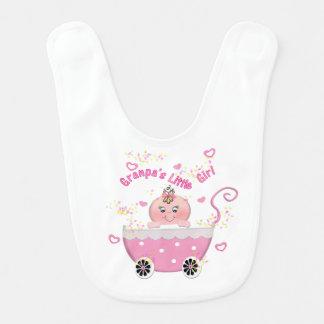 Pink Hearts Granpa's Little Girl Baby Bib