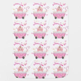 Pink Hearts Granpa's Little Girl Baby Blanket