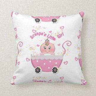 Pink Hearts Granpa's Little Girl Throw Pillow