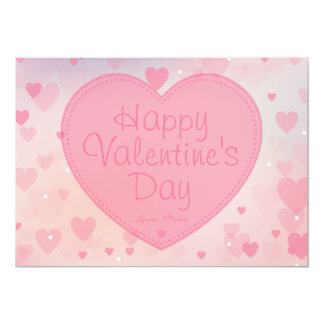 Pink Hearts Happy Valentine's Day Card for Her