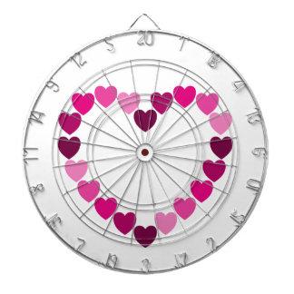 Pink hearts heart dartboard