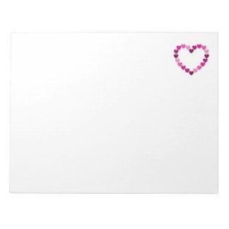 Pink hearts heart notepad