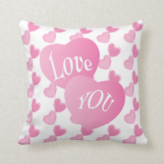 Pink Hearts I Love You Throw Pillow