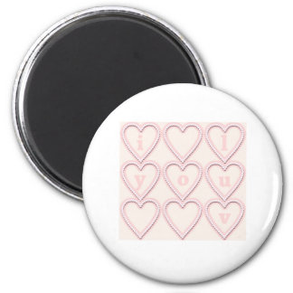 pink hearts i luv you magnet