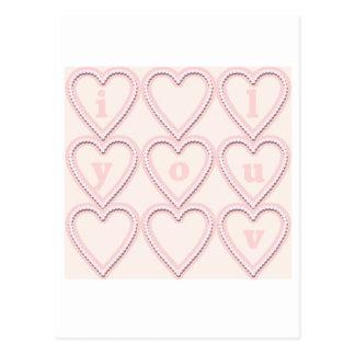 pink hearts i luv you postcard
