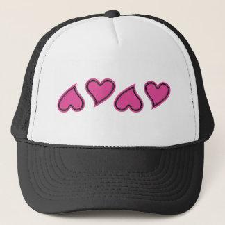 Pink Hearts in Random Pattern Trucker Hat