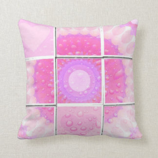 Pink Hearts in the Rain Mosaic Throw Pillow