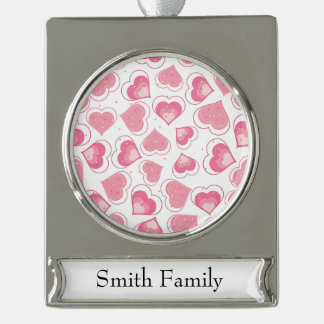 Pink Hearts Love Design Silver Plated Banner Ornament