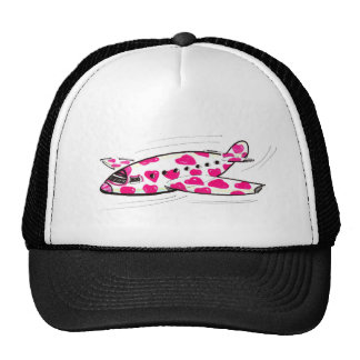 Pink Hearts Love Plane Hat