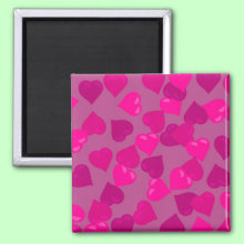 Pink confetti hearts abstract design Magnet