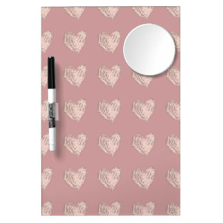 Pink Hearts Med. w/ Mirror and Pen Dry Erase Board