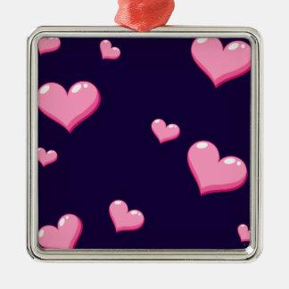 Pink Hearts Metal Ornament