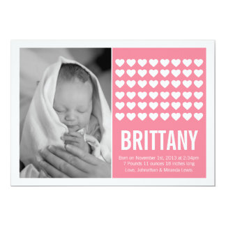 """Pink Hearts Modern Photo Baby Announcements 5"""" X 7"""" Invitation Card"""