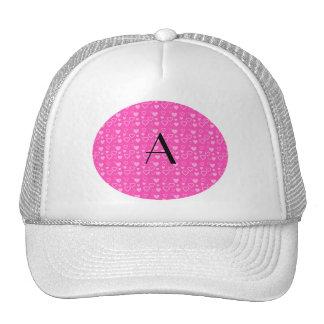 Pink hearts monogram trucker hat