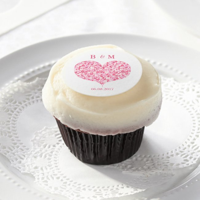 Pink Hearts - Monogram | Wedding Frosting Rounds