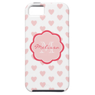 Pink Hearts Monogrammed pattern background iPhone 5 Cases