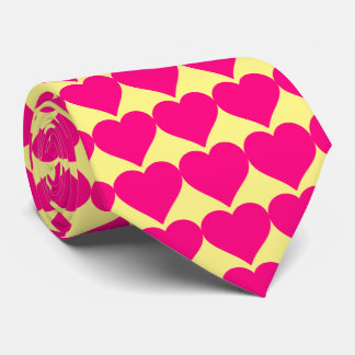 Pink hearts on a Yellow background. Neck Tie